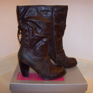 Women Brown 5.5 Back Lace Up Side Zipper Boots